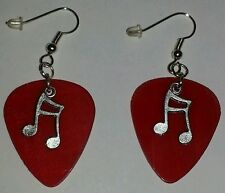 RED VINYL RECORD Silver Plated Music Note Dangle Plectrum Guitar Pick EARRINGS