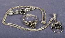 Teka Konvolut Schmuck Set Floral Rose / Ring Anhänger Brosche Kette / 925 Silber