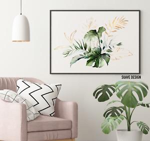 Tropical Wall Art Prints Monstera Fern Palm Leaves Green & Gold Line Watercolour