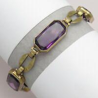 Vtg Art Deco Sterling Silver Vermeil Amethyst Glass Geometric Line Bracelet