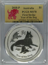 PCGS MS70 First Strike 2018-P Australia YEAR OF THE DOG $1 Silver 1oz 9999 Perth