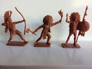As new 3 Crescent Toys Plastic American Indians 1960s