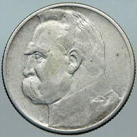 1934 POLAND Silver with Jozef Pilsudski Antique OLD Silver 2 Zlotych Coin i88426