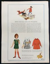 Vintage Betsy McCall Mag. Paper Doll, Betsy McCall Goes Dog-Walking, Aug. 1964