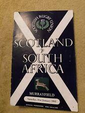 More details for 1961 scotland v south africa springboks international rugby union programme