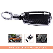 Carbon Fiber Key Fob Cover Case Shell Chain For VW Golf MK7 Skoda Octavia Kodiaq