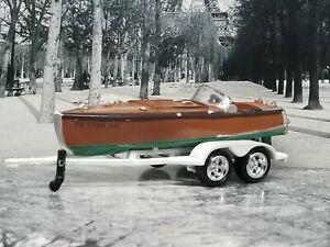 Split Cockpit Boat & Trailer Collectible 1/64 Scale Diorama Model #2