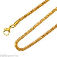 1 Unisex Halskette Halsschmuck Schlangenkette Vergoldet Edelstahl 55cmx3.2mm L/P
