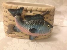 Vtg Ceramic Planter Basket Fish Rainbow Trout Fishing Rod Napco