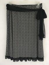 Wrapper Skirt Layered Black White Circled Sash Tie Around Waist Medium