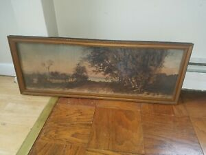 Ernest Rost Antique Etching of American Homestead Landscape, Large & Beautiful