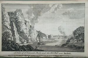 A View of St Vincents Rocks and the Hot Wells Near Bristol Antique Print 1759