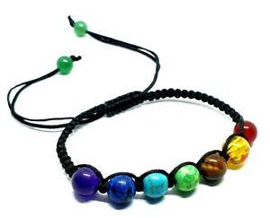 7 Chakra Stone Cord Bracelet Ankle Healing Balance Beaded Braided 8mm Beads