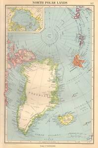 Antique Map 1947 Bartholomew North Polar Lands