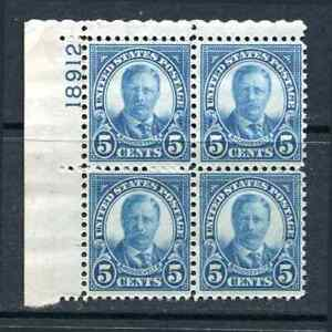 Sc# 637 5¢ Roosevelt Plate Block of 4  Upper Left