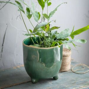 Forest Green Crackle Glaze Positano Ceramic Plant Pot Cover with Feet, Planter