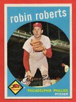 1959 Topps #352 Robin Roberts EX-EX+ GLUE Philadelphia Phillies HOF FREE SHIP