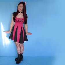 Ladies Adult Black Pink Goth Barbie Doll Dress Costume Emo Punk Pinup 10 Skater
