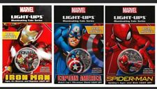 More details for 2017 marvel light-up coin series 3-coin set: iron man, spider-man, cap america