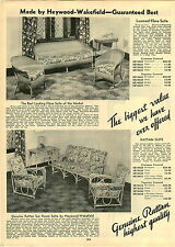 1933 PAPER AD Heywood Wakefield Loomed Fibre Suite Rattan Patio Furniture
