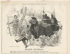 1905 Punch Cartoon Belated Neutrality Oasis French Russian Mechanical Camel Coal
