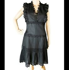 STELLAH  Black Scalloped Lace Cotton-Linen Lined Cocktail S Dress Sleeveless