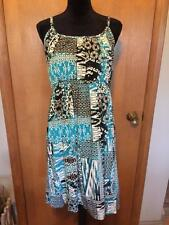 STYLE & CO GRECIAN STYLE BRAIDED GOLD ACCENT STRAPS, EMPIRE WAIST SUNDRESS IN LG