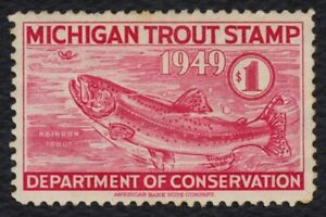 1949 Michigan Trout Stamp, Used **ANY 5=FREE SHIPPING**