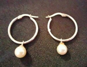 Italian 9ct 375 White Gold HOOP Earrings with Pearl Dangle 1.9g