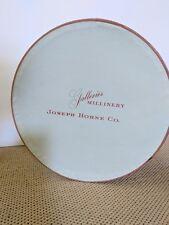"Vintage Galleries Millinery Joseph Horne Co Blue Hat Box 12"" diameterx 6.5"" tall"