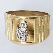 Mans solid 14k yellow Gold saint Jude Judas Ring S 8 9.5 10 11