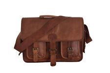"""15"""" Vintage Leather DSLR Camera Briefcase Laptop Satchel Business Messenger Bag"""