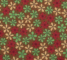 Quilt Cotton Calico Fabric Brown Green Red Color Flowers Hobby Lobby 1 YARD