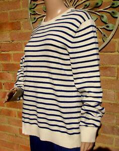 Lands End Breton Cream Navy Striped Cashmere Jumper Size M 14 Worn Once Mint