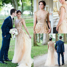 Gorgeous Champagne A-Line Wedding Dresses Bridal Gown Gold Beads Crystals Custom