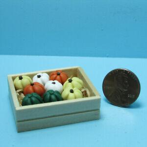 Dollhouse Miniature Fall Market 9 Pumpkins in a Small Wooden Crate B0128