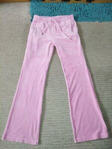 Juicy Couture Pink Velour Diamante Lounge Track Bottoms Size M (10-12) GORGEOUS