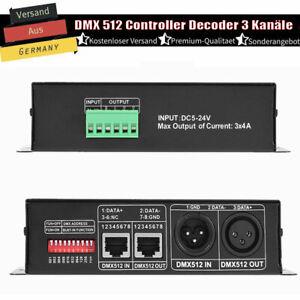 DMX 512 LED Controller Decoder Dimmer 3 Kanal RGB Stripe Light Verstärker 4A NEU