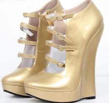 Gold Womens 18cm Nightclub Sexy Punk Platform Wedge Heel Shoes Sexy