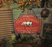 Primitive Antique Vtg Style 1964 Old Farmers Meat Market Barn Yard Pig Hog Sign