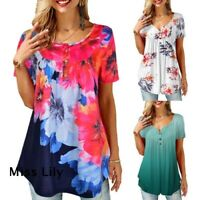 T Shirt Blouse Casual Tunic Tops Women Summer Short Sleeve Ladies Floral Loose