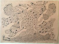 Drawing by  Guillermo Pedreguera. Circa 1972. Original Signed