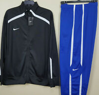 NIKE BASKETBALL WARM UP TRACK SUIT JACKET + PANTS BLACK BLUE RARE NEW (SIZE 2XL)