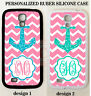 TEAL MINT ANCHOR PINK CHEVRON CUSTOM MONOGRAM Case For Samsung Galaxy S7 NOTE 7