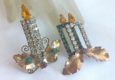 LOT of 2 VTG Red Green Amber Yellow Rhinestone Christmas Candle Holly Brooch Pin