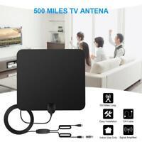 Flat HD Digital Indoor Amplified TV Antenna HDTV 500 Mile Range VHF UHF DVB