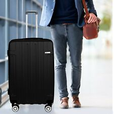 Cabin Suitcase Black Carry On ABS Spinner Wheels Hard Shell 24