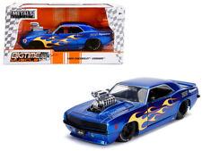 1/24 Jada 1969 Chevrolet Camaro & Blower Engine Diecast Flames Gloss Blue 30708