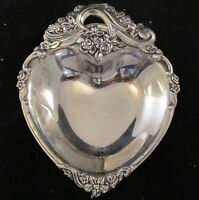 Silver Toned NonTarnish Heart Shaped Trinket Dish Very Ornate Vintage