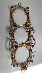 Hollywood Regency Gold  Tole Gilded Plate Holder Rack Italian? Roses, Leaves
